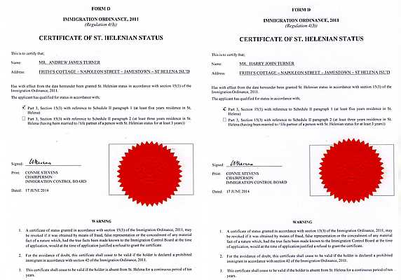 Certificates issued under the Immigration Control Ordinance 2011 [The Turner Family:Family Stuff]